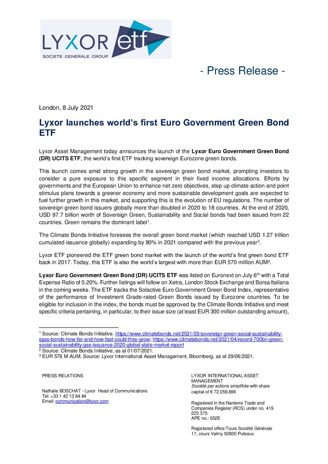 Lyxor Launches World's First Euro Government Green Bond ETF